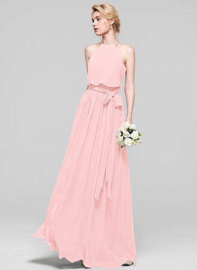 A-Line/Princess Scoop Neck Floor-Length Chiffon Bridesmaid Dress With Bow(s)