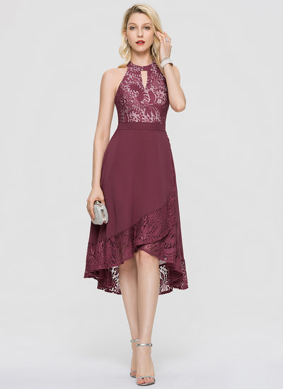 A-Line Scoop Neck Asymmetrical Chiffon Cocktail Dress With Cascading Ruffles