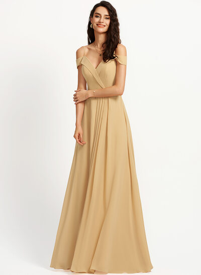A-Line Off-the-Shoulder Floor-Length Bridesmaid Dress