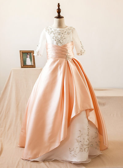Ball Gown Floor-length Flower Girl Dress - Organza/Satin 1/2 Sleeves Scoop Neck With Beading