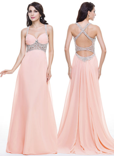 Trumpet/Mermaid Sweetheart Watteau Train Chiffon Prom Dresses With Ruffle Beading Sequins