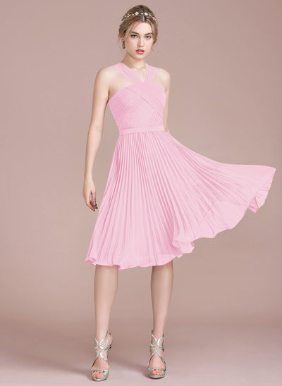 A-Line/Princess V-neck Knee-Length Chiffon Bridesmaid Dress With Pleated
