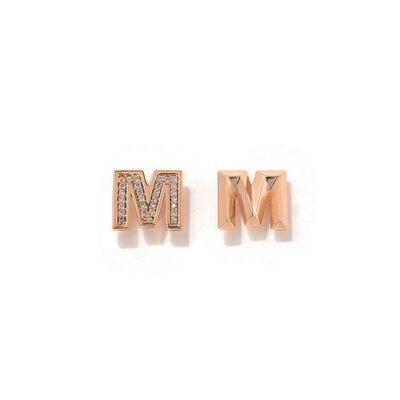 Bridesmaid Gifts - Personalized Simple Delicate Copper Cubic Zirconia Initial Earrings