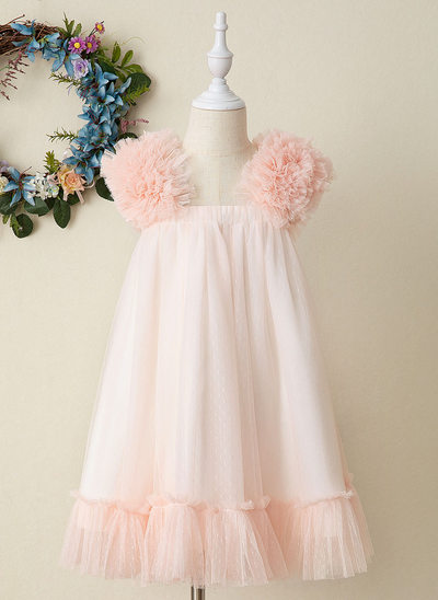A-Line Knee-length Flower Girl Dress - Tulle Sleeveless Strapless
