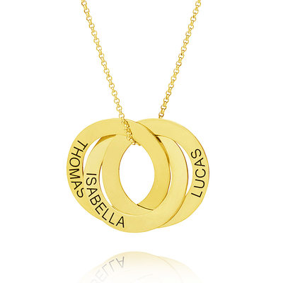 Custom 18k Gold Plated Silver Engraving/Engraved Circle Three Name Necklace Circle Necklace With Kids Names