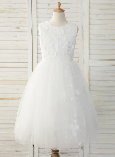 A-Line Tea-length Flower Girl Dress - Tulle/Lace Sleeveless Scoop Neck With Back Hole