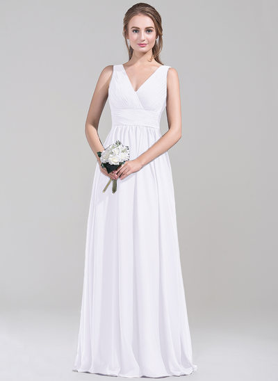 Empire V-neck Floor-Length Chiffon Bridesmaid Dress With Ruffle