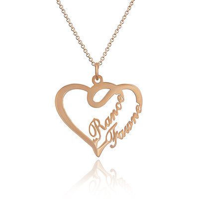 Christmas Gifts For Her - Custom 18k Rose Gold Plated Silver Heart Overlapping Two Name Necklace