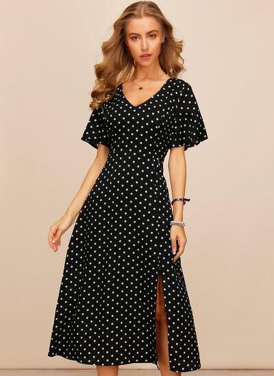 A-Line V-neck Tea-Length Cocktail Dress With Split Front