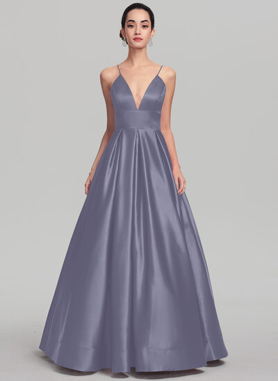 Ball-Gown/Princess V-neck Floor-Length Satin Prom Dresses