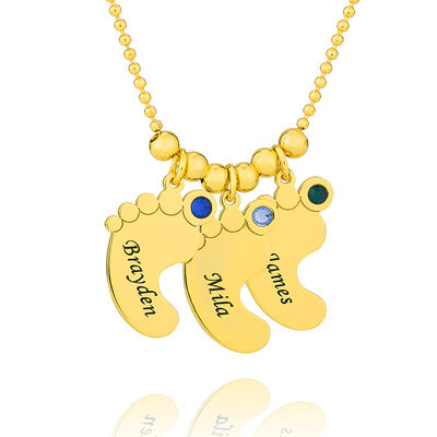 Custom 18k Gold Plated Baby Feet Three Engraved Necklace Family Necklace With Birthstone - Valentines Gifts