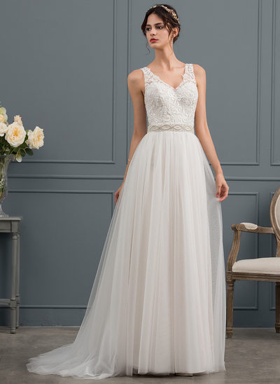 A-Line/Princess V-neck Sweep Train Tulle Wedding Dress With Beading