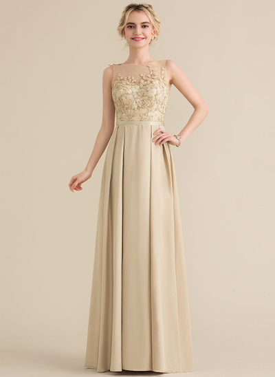 A-Line/Princess Scoop Neck Floor-Length Satin Evening Dress With Bow(s)