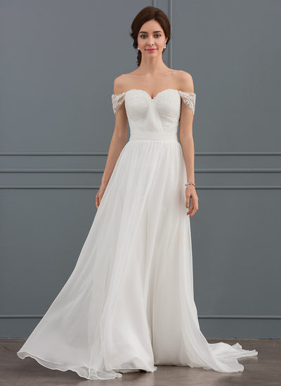A-Line/Princess Off-the-Shoulder Sweep Train Chiffon Lace Wedding Dress With Ruffle