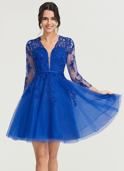 A-Line V-neck Knee-Length Tulle Cocktail Dress