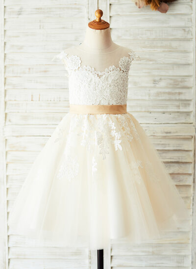 A-Line Knee-length Flower Girl Dress - Satin/Tulle/Lace Sleeveless Scoop Neck With Appliques/V Back (Undetachable sash)