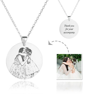 Custom Sterling Silver Engraving/Engraved Circle Tag Black And White Photo Engraved Engraved Necklace Photo Necklace - Birthday Gifts