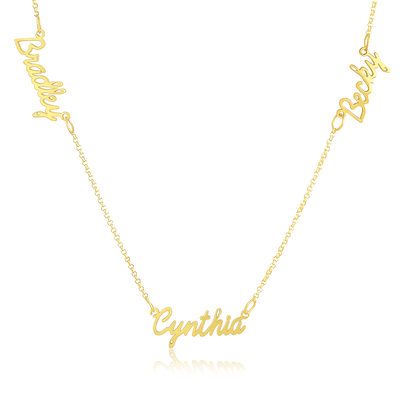 Custom 18k Gold Plated Silver Three Name Necklace With Kids Names - Valentines Gifts