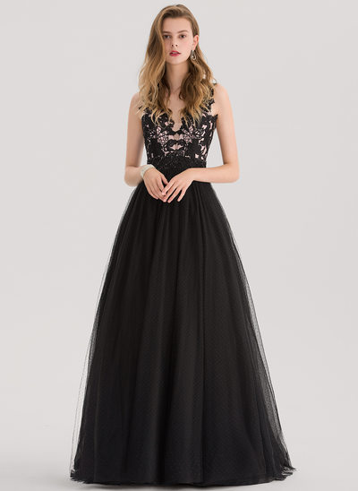 Ball-Gown V-neck Sweep Train Tulle Prom Dress With Beading Sequins