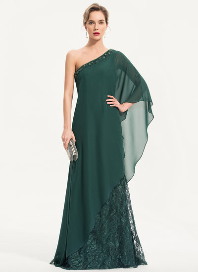 Sheath/Column One-Shoulder Sweep Train Lace Evening Dress With Beading Sequins