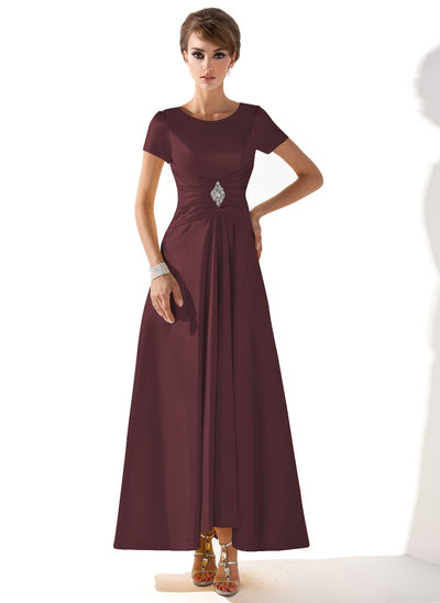 A-Line Scoop Neck Asymmetrical Charmeuse Mother of the Bride Dress With Ruffle Beading