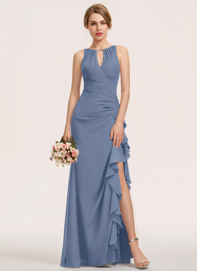 A-Line Scoop Neck Floor-Length Chiffon Evening Dress With Split Front Cascading Ruffles