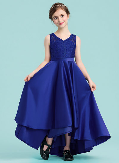 A-Line/Princess V-neck Asymmetrical Satin Junior Bridesmaid Dress With Sash