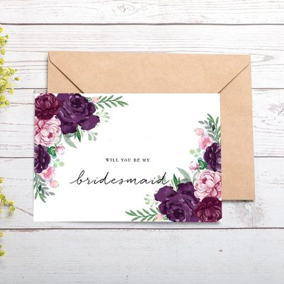 Bridesmaid Gifts - Classic Special Eye-catching Card Paper Wedding Day Card
