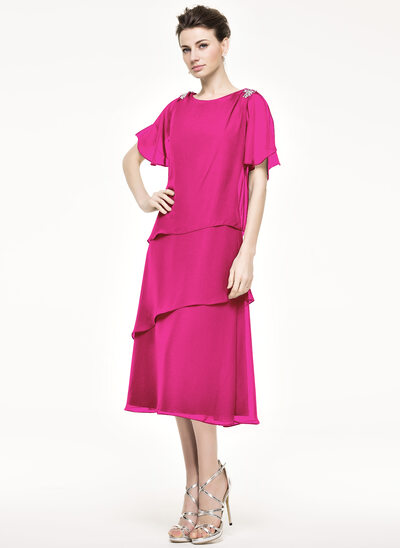 A-Line/Princess Scoop Neck Tea-Length Chiffon Mother of the Bride Dress With Beading Sequins Cascading Ruffles