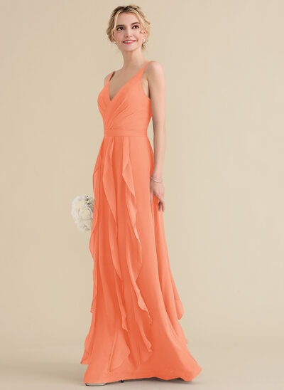 A-Line/Princess V-neck Floor-Length Chiffon Prom Dresses With Cascading Ruffles