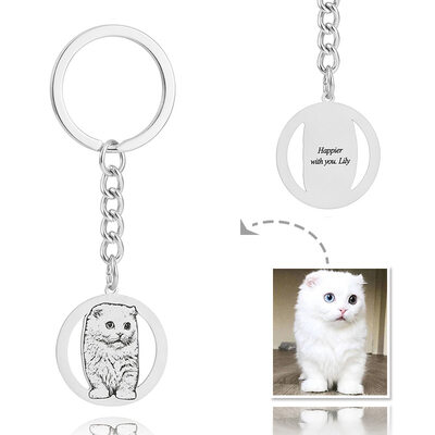 Groomsmen Gifts - Personalized Photo Engraved Black And White Circle Platinum Plated Sterling Silver Keychain