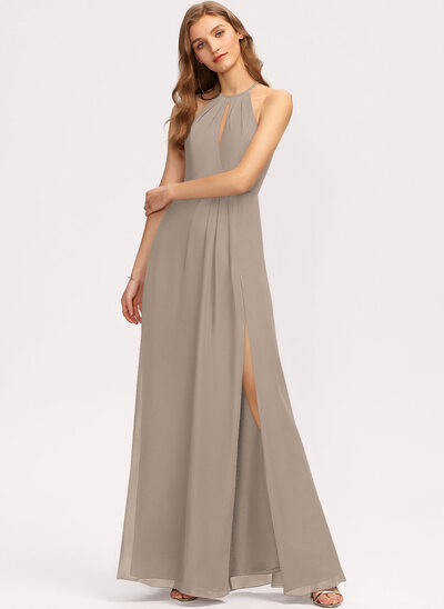 A-Line Scoop Neck Floor-Length Chiffon Evening Dress With Ruffle Split Front