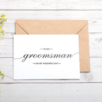 Groomsmen Gifts - Modern Card Paper Wedding Day Card