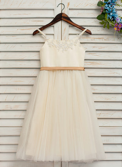 A-Line/Princess Ankle-length Flower Girl Dress - Satin/Tulle/Lace Sleeveless Straps With Sash/Appliques (Detachable sash)