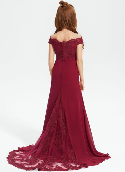 Trumpet/Mermaid Off-the-Shoulder Sweep Train Chiffon Lace Junior Bridesmaid Dress