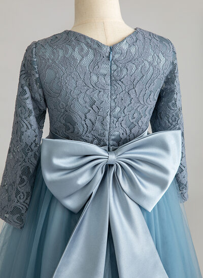 Ball-Gown/Princess Floor-length Flower Girl Dress - Tulle/Lace Long Sleeves Scoop Neck With Bow(s)