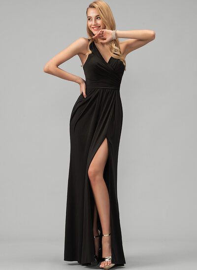 A-Line V-neck Floor-Length Jersey Evening Dress With Ruffle Split Front