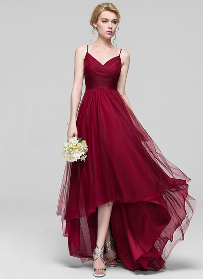 A-Line/Princess V-neck Asymmetrical Tulle Bridesmaid Dress With Ruffle