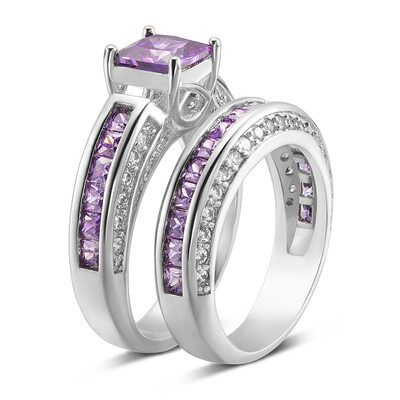 Sterling Silver Cubic Zirconia Halo Princess Cut Bridal Sets Cocktail Rings -
