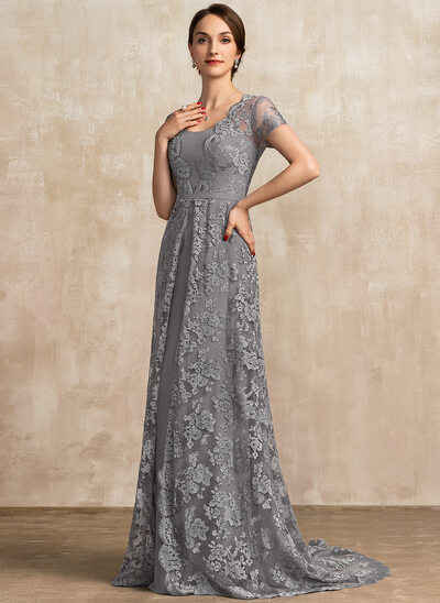 A-Line Square Neckline Sweep Train Chiffon Lace Mother of the Bride Dress