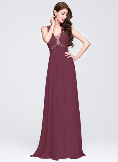 A-Line/Princess V-neck Sweep Train Chiffon Prom Dresses With Appliques Lace Sequins
