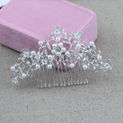 Ladies Romantic Alloy Combs & Barrettes With Rhinestone/Venetian Pearl (Sold in single piece)