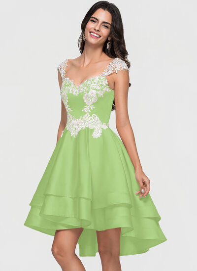 A-Line Sweetheart Asymmetrical Satin Prom Dresses With Lace Beading Cascading Ruffles