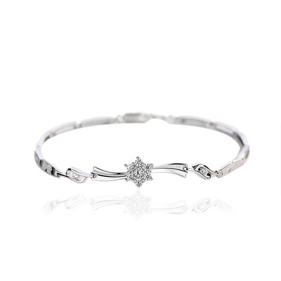 Ladies' Elegant 925 Sterling Silver With Diamond Cubic Zirconia Bracelets For Bride/For Friends