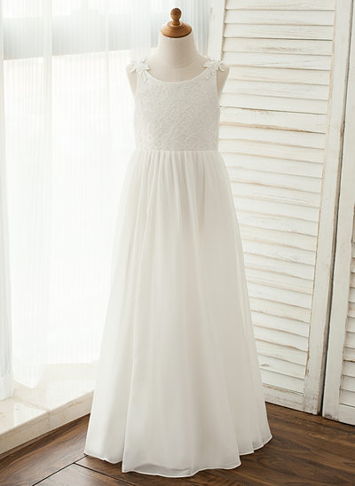 A-Line/Princess Floor-length Flower Girl Dress - Chiffon/Lace Sleeveless Scoop Neck With Appliques