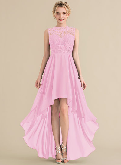 A-Line/Princess Scoop Neck Asymmetrical Chiffon Lace Evening Dress