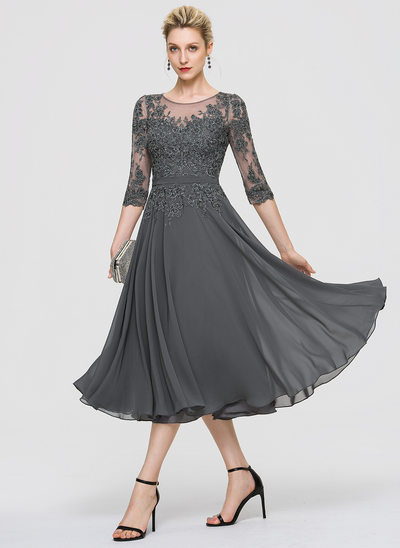 A-Line Scoop Neck Tea-Length Chiffon Cocktail Dress With Sequins