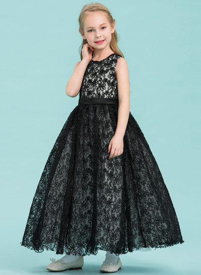 A-Line/Princess Ankle-length Flower Girl Dress - Satin/Lace Sleeveless Scoop Neck With Beading/Flower(s)
