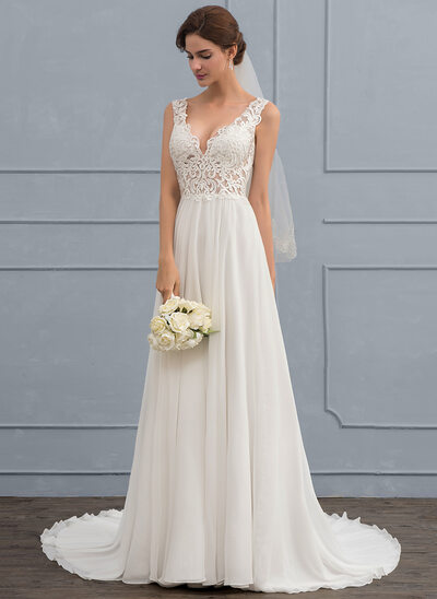 A Line Princess V Neck Court Train Chiffon Wedding Dress