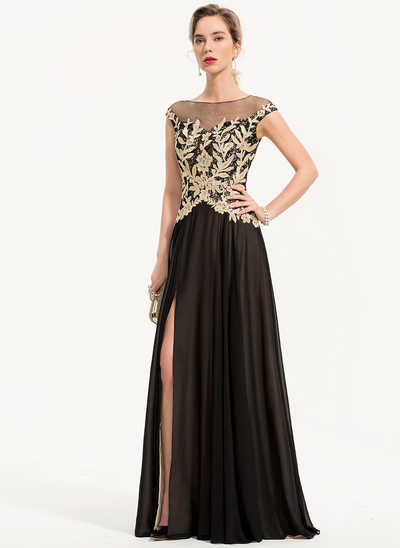A-Line Scoop Neck Floor-Length Chiffon Evening Dress With Split Front